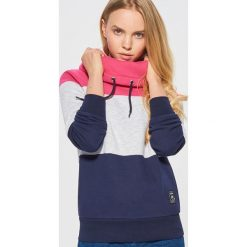 Wzorzysta bluza z kołnierzem - Granatowy. Niebieskie bluzy damskie marki Cropp, l. Za 89,99 zł.
