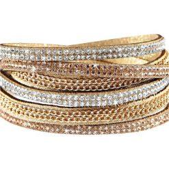 Bransoletka zawijana na ręce z łańcuszkiem i sztrasami bonprix beżowo-złoty kolor. Brązowe bransoletki damskie na nogę bonprix, złote. Za 34,99 zł.