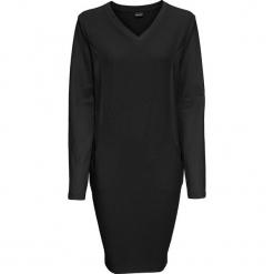 Sukienka dresowa bonprix czarny. Szare sukienki dresowe marki bonprix, melanż, z kapturem, z długim rękawem, maxi. Za 99,99 zł.
