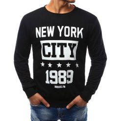 Bluzy męskie: Bluza męska z nadrukiem czarna (bx3391)