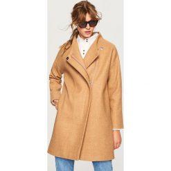 Płaszcz z domieszką wełny - Brązowy. Brązowe płaszcze damskie wełniane Reserved. Za 299,99 zł.