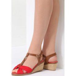 Czerwone Sandały Got You. Czerwone sandały damskie vices, z materiału, na koturnie. Za 79,99 zł.