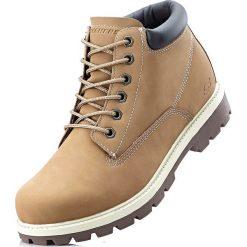 Kozaki sznurowane Sneakers bonprix wielbłądzia wełna. Brązowe glany męskie marki bonprix, z wełny, na sznurówki. Za 219,99 zł.