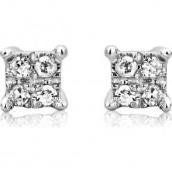 Złote kolczyki-wkrętki z z diamentami. Szare kolczyki damskie REVONI, z diamentem, złote. W wyprzedaży za 345,95 zł.