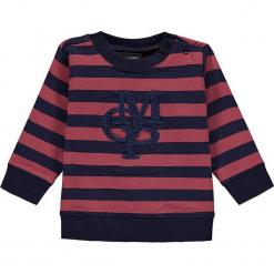 Bluza w kolorze granatowo-różowym. Białe bluzy dziewczęce rozpinane marki Marc O'Polo Junior, z nadrukiem, z okrągłym kołnierzem, z długim rękawem. W wyprzedaży za 62,95 zł.
