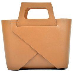 Torebki klasyczne damskie: Skórzana torebka w kolorze koniaku – (S)25 x (W)40 x (G)12 cm