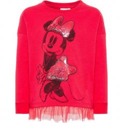 """Bluza """"Minnie"""" w kolorze różowym. Czerwone bluzy dziewczęce rozpinane marki Name it Mini & Kids, z nadrukiem, z dzianiny. W wyprzedaży za 59,95 zł."""