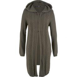 Długi sweter rozpinany z kapturem bonprix ciemnooliwkowy. Zielone kardigany damskie marki bonprix. Za 89,99 zł.