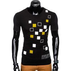 T-shirty męskie: T-SHIRT MĘSKI Z NADRUKIEM S1000 - CZARNY