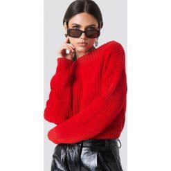 Glamorous Sweter z dzianiny - Red. Różowe swetry klasyczne damskie marki Glamorous, z nadrukiem, z asymetrycznym kołnierzem, asymetryczne. Za 141,95 zł.