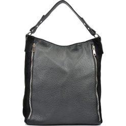 Shopper bag damskie: Skórzana torebka w kolorze czarnym – (S)35,5 x (W)42 x (G)14 cm