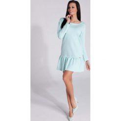 Sukienki: Miętowa Sukienka z Falbanką z Długim Rękawem