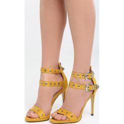 Żółte Sandały Birdsong. Żółte sandały damskie marki Kazar, ze skóry, na wysokim obcasie, na obcasie. Za 89,99 zł.