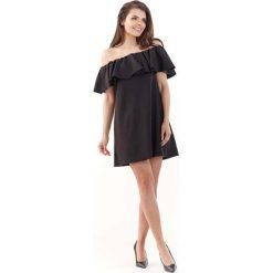 Czarna Wyjściowa Sukienka Mini Typu Hiszpanka. Szare sukienki hiszpanki marki Molly.pl, l, w koronkowe wzory, z koronki, eleganckie, z dekoltem typu hiszpanka, z krótkim rękawem, midi, dopasowane. Za 119,90 zł.