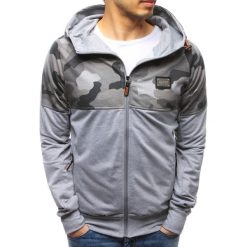 Bluzy męskie: Bluza męska rozpinana z kapturem szara (bx3489)