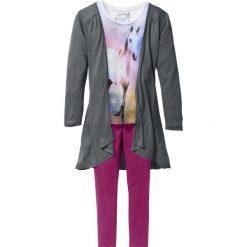 Shirt, kardigan + legginsy (3 części) bonprix biel wełny - dymny szary - fioletowy. Czarne legginsy dziewczęce marki bonprix, w paski, z dresówki. Za 74,99 zł.