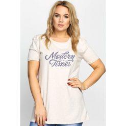 T-shirty damskie: Beżowy T-shirt Modern Times