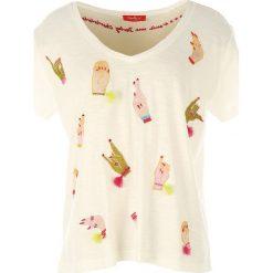 T-shirty damskie: T-shirt z dekoltem V, krótkim rękawem i nadrukiem