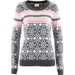 Sweter bonprix antracytowy melanż wzorzysty. Szare swetry klasyczne damskie bonprix. Za 74,99 zł.