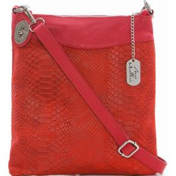 Torebki klasyczne damskie: Skórzana torebka w kolorze czerwonym – 26 x 28 x 3 cm