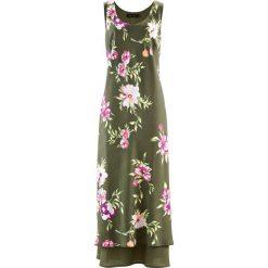 Sukienki hiszpanki: Sukienka bonprix oliwkowy w kwiaty