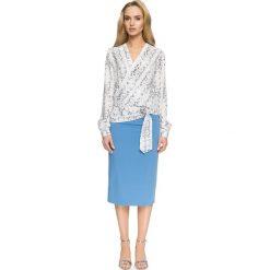ANNETTE Koszula z zakładką i wiązaniem - model 1. Szare koszule wiązane damskie marki Stylove, z nadrukiem, ze skóry, eleganckie. Za 139,99 zł.