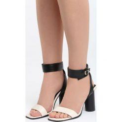 Czarno-Beżowe Sandały Stay Young. Brązowe sandały damskie na słupku marki Born2be, z materiału, na wysokim obcasie. Za 79,99 zł.