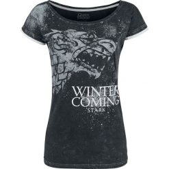 T-shirty damskie: Gra o Tron Stark – Winter Is Coming Koszulka damska ciemnoszary