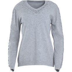 Jasnoszary Sweter I'm Not Giving Up. Szare swetry klasyczne damskie Born2be, l, z koronki, z dekoltem w serek. Za 79,99 zł.
