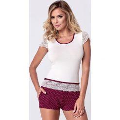 Damska piżama Roxy Burgund. Czerwone piżamy damskie marki Astratex, w koronkowe wzory, z koronki. Za 90,99 zł.