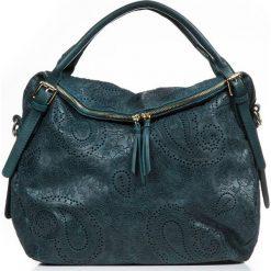 Torebki klasyczne damskie: Skórzana torebka w kolorze zielonym – 40 x 36 x 16 cm