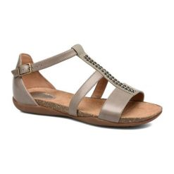 Sandały damskie: Skórzane sandały w kolorze brązowoszarym