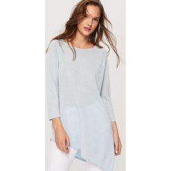 Asymetryczny sweter - Niebieski. Niebieskie swetry klasyczne damskie Reserved, l. W wyprzedaży za 39,99 zł.