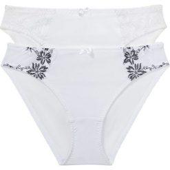 Figi (2 pary) bonprix biały + biało-czarny. Białe figi bonprix, z haftami. Za 55,98 zł.
