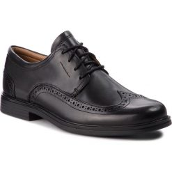 Półbuty CLARKS - Un Aldric Wing 261325977 Black Leather. Czarne derby męskie Clarks, z materiału. Za 459,00 zł.