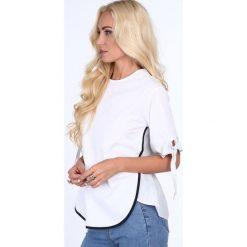 Bluzka z łączonych materiałów biała 22259. Białe bluzki z odkrytymi ramionami Fasardi, m, z materiału. Za 47,20 zł.