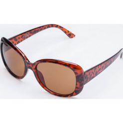 Okulary przeciwsłoneczne w brązowych oprawkach panterka. Brązowe okulary przeciwsłoneczne damskie marki Yups, owalne. Za 19,99 zł.