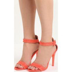 Koralowe Sandały Holy Grail. Pomarańczowe sandały damskie marki Born2be, z materiału, na wysokim obcasie, na obcasie. Za 69,99 zł.