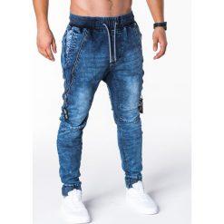 SPODNIE MĘSKIE JEANSOWE JOGGERY P647 - NIEBIESKIE. Niebieskie joggery męskie Ombre Clothing, z bawełny. Za 84,00 zł.