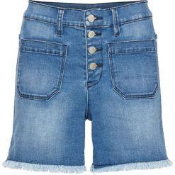 Szorty dżinsowe z wysoką talią bonprix niebieski bleached. Niebieskie szorty jeansowe damskie marki bonprix. Za 109,99 zł.