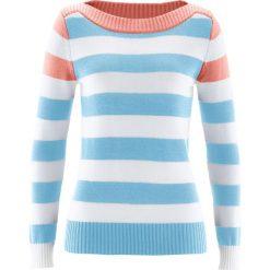 Swetry damskie: Sweter z dekoltem w łódkę bonprix jasny koralowy – jasnoniebieski -biały w paski