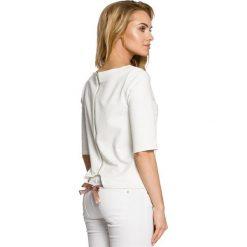 LUNA Bluzka z wiązaniem - ecru. Szare bluzki z odkrytymi ramionami Moe, z dresówki, z dekoltem w łódkę. Za 109,99 zł.