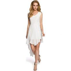 TRINITY Wieczorowa sukienka bez rękawów - ecru. Szare sukienki asymetryczne Moe, z elastanu, wizytowe, z asymetrycznym kołnierzem, bez rękawów. Za 169,90 zł.