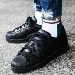 """Buty adidas Superstar Foundation Kids """"Core Black"""" (B25724). Czarne buciki niemowlęce chłopięce Adidas, na lato, z materiału. Za 219,99 zł."""