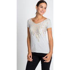 Bluzki damskie: Szara bluzka w złoty nadruk QUIOSQUE