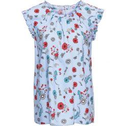 Bluzki damskie: Bluzka bonprix perłowy niebieski -biały w kwiaty