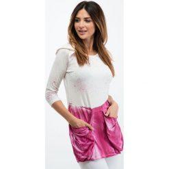 Tuniki damskie: Amarantowo-kremowa tunika-imitacja farby 2282