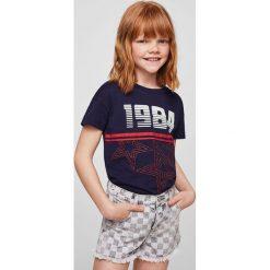 Mango Kids - Top dziecięcy Stardust 110-164 cm. Szare bluzki dziewczęce Mango Kids, z aplikacjami, z bawełny, z okrągłym kołnierzem. Za 49,90 zł.