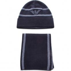 Zestaw Szalik i Czapka EMPORIO ARMANI - 407504 8A723 11236 Dark Blue/Avio Blue. Niebieskie czapki zimowe damskie marki Emporio Armani, z materiału. Za 549,00 zł.