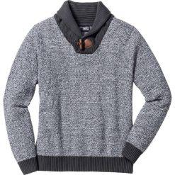 Swetry klasyczne męskie: Sweter z szalowym kołnierzem Regular Fit bonprix szary